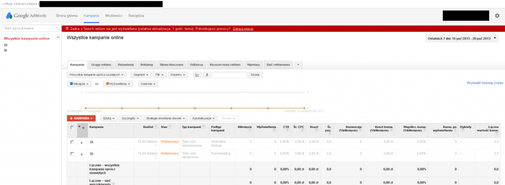 Nowy layout AdWords
