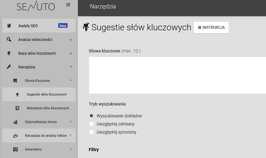 sugestie keywords senuto