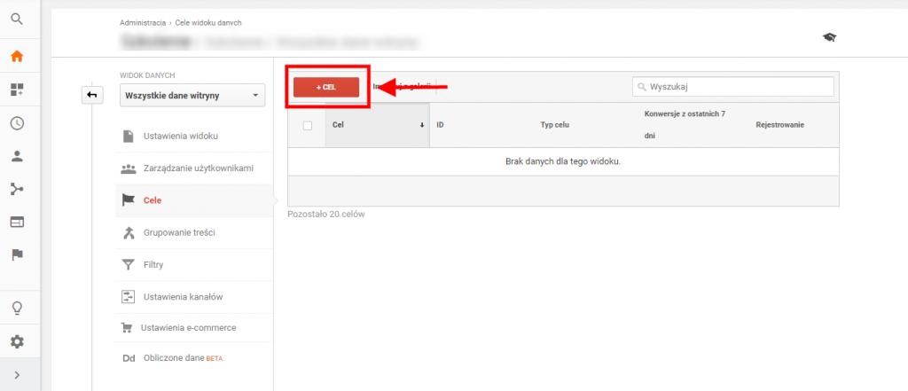 dodawanie nowego celu google analytics