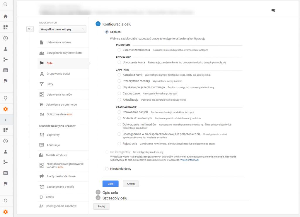 4 konfiguracja celu google analytics 2