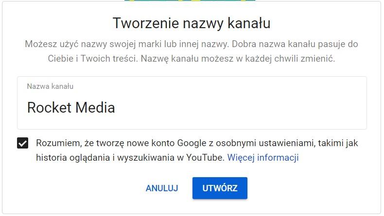 utworzenie nazwy kanału YouTube