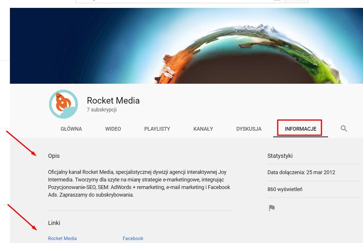 uzupełniona zakładka Informacje na kanale YouTube