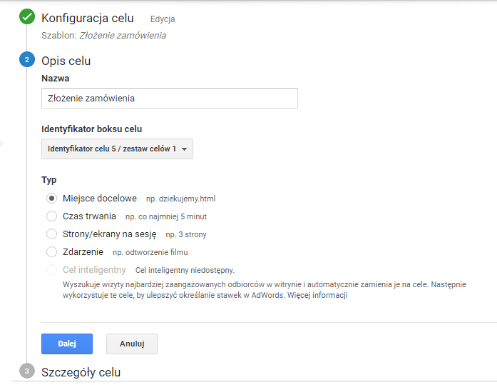 opis celu w google analytics