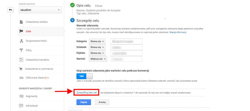 weryfikacja cele w google analytics