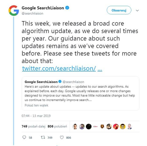 Tweet Google informujący o aktualizacji algorytmu