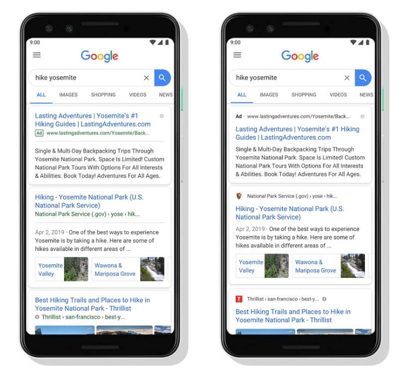 Wyniki wyszukiwania na smartfonach