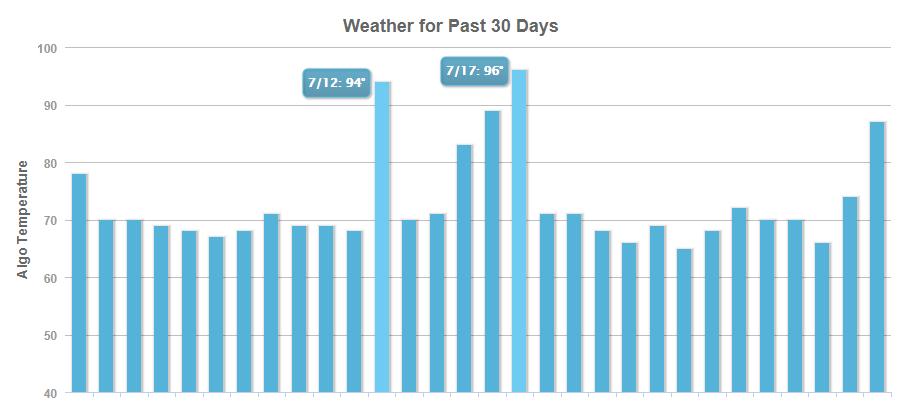 rys. 1. Prognozy MozCast pokazujące burzliwe zmiany w algorytmie Google w lipcu (źródło: https://moz.com/mozcast/)