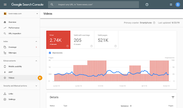 sekcja Wideo w Google Search Console