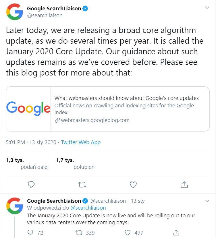 January 2020 Core Update info