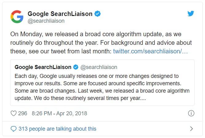 Google Update April 16th Twitter info
