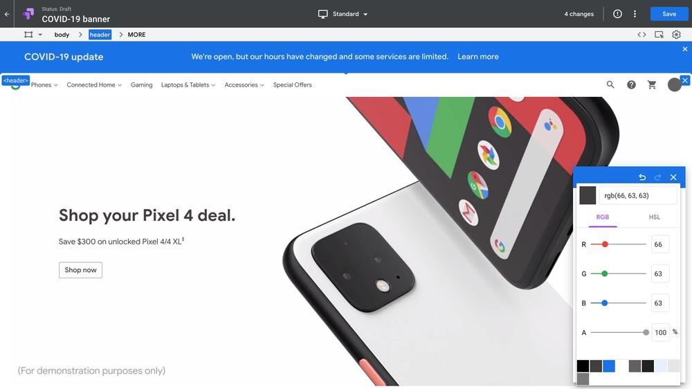 Google Optimize banner COVID-19