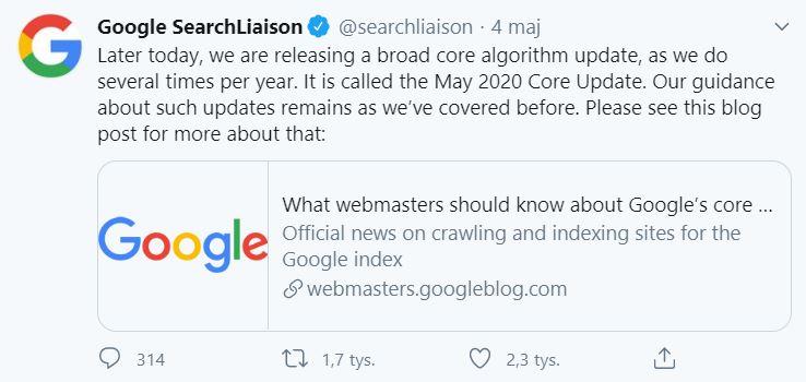 May 2020 Core Update info