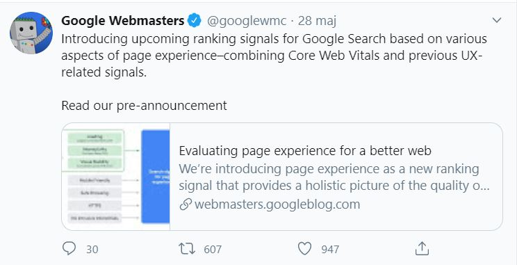 Page Experience Twitter info