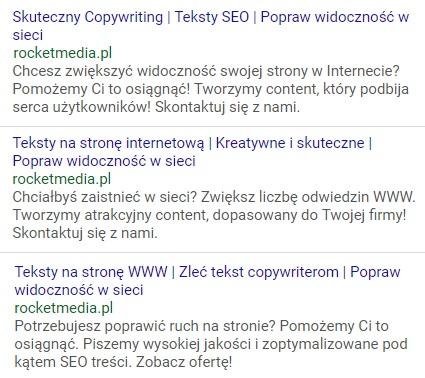 przykładowe teksty reklam google ads