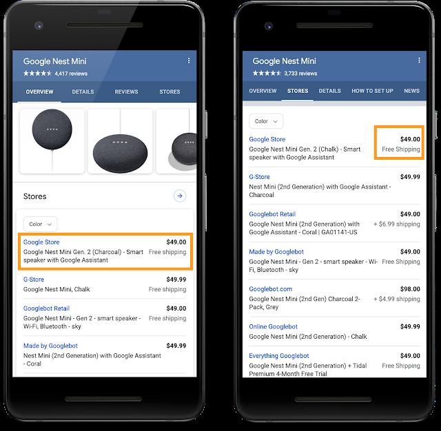 informacje o dostawie dla produktów w Google