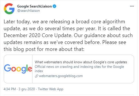 December 2020 Core Update info