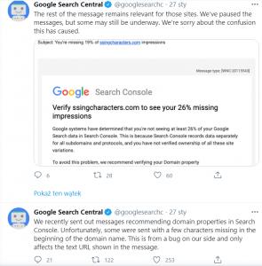 Twitter: Google Search Console - wyjaśnienie błędu powiadomień
