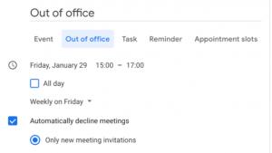 out of office - kalendarz Google