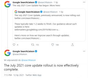 informacja na temat July 2021 Core Update