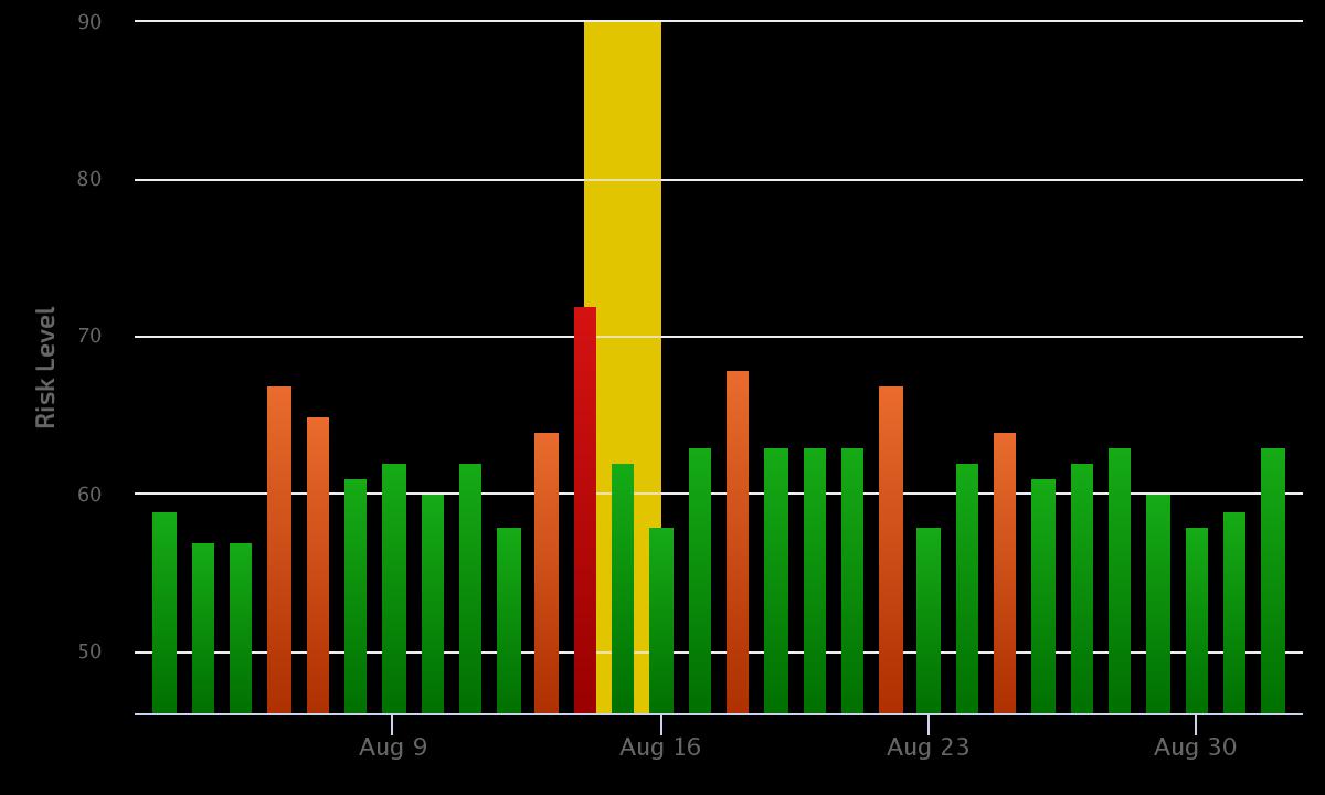 dzienne różnice w wynikach Google - sierpień 2021 (mobile)