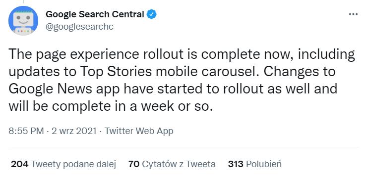 koniec wdrożenia Page Experience Update - komunikat Google